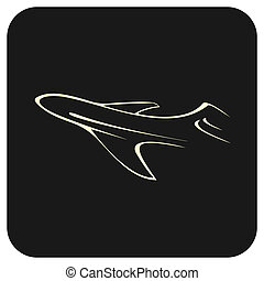 Airliner - Outline stylized image of air liner - vector ...