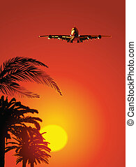 airliner, pôr do sol