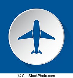 airliner - simple blue icon on white button