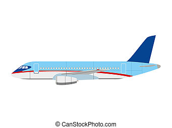 Airliner superjet 100 on white background