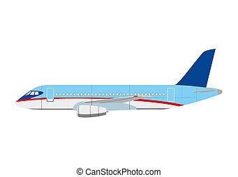 Airliner superjet 100 on white background