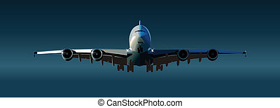 airliner a380 takeoff. Available EPS-8 vector format separated by groups and layers for easy edit