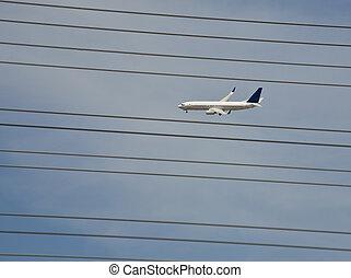 airliner, vôo, e, poder forra