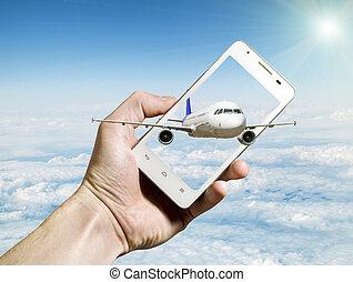 airliner, voando, saída, de, smartphone, tela, contra, nublado, paisagem