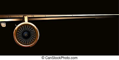 Airliner wing with turbine on dark background