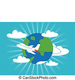 airliner with a globe - Travel airplane concept background, ...