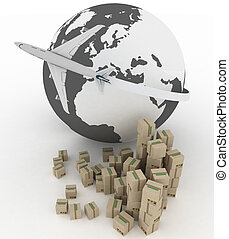 global business commerce concept - airliner with globe with ...