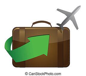 airliner, y, maleta, blanco