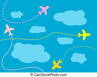 Airlines - Air travel background - airline routes, sky and...