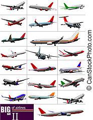 airlines., grande, set, vettore, illustrazione