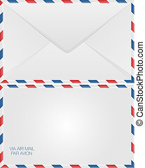 Airmail envelope, back and front view