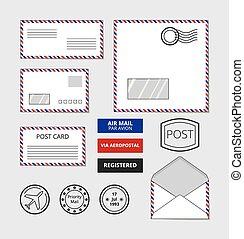 Airmail envelopes, postcard and badges vector set