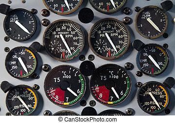 small airplane control board in cockpit