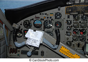 Airplaine cockpit - Detail of a small airplane cockpit with...