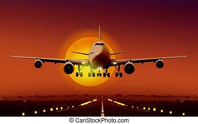 airplan, alba, durante, decollare