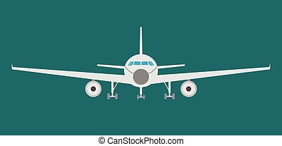Airplan flat icon, sign and symbol. Vector Illustration.