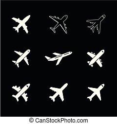 airplan, vetorial, ícone
