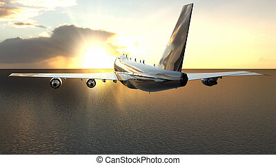 airplane, över, hav