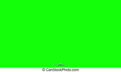 Airplane 3d flies on green screen background.