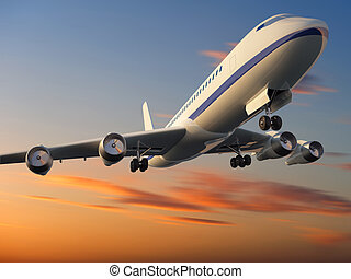 3d illustration of airplane flying at sunset