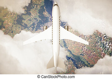 Airplane above landscape - Top view of airplane and clouds ...