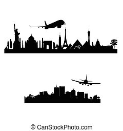 airplane above the city vector