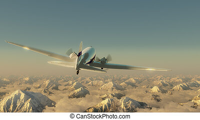 Airplane above the mountains - Airplane above the high ...