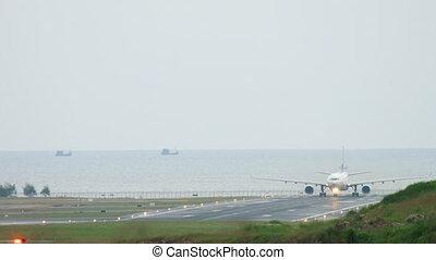 Airplane accelerate before departure - Widebody airplane...