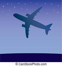 Airplane aero aviation silhouette.