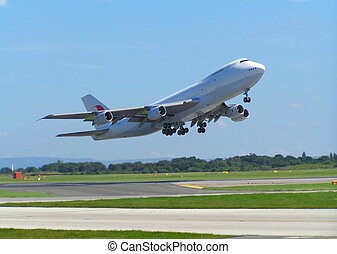 Airplane - airplane take off at manchester airport, england...