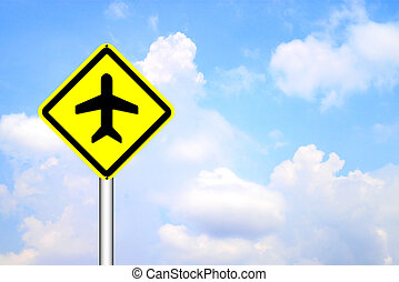 Airplane airport sign on blue sky