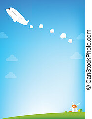 Airplane and blue Sky background