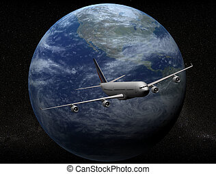 airplane and earth