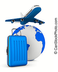 airplane and globe on white background. Isolated 3D image