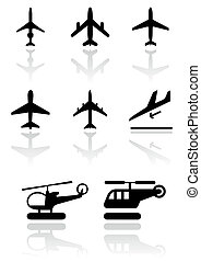 Vector illustration set of different airplane and helicopter symbols. All vector objects are isolated. Colors and transparent background color are easy to adjust.
