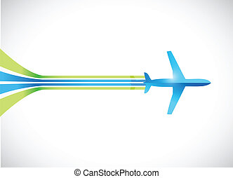 airplane and lines illustration design over a white ...