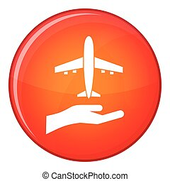 Airplane and palm icon, flat style