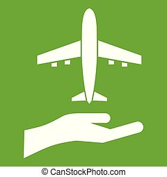 Airplane and palm icon green
