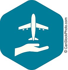 Airplane and palm icon, simple style