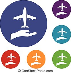 Airplane and palm icons set