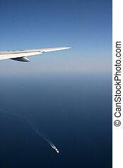 airplane and ship