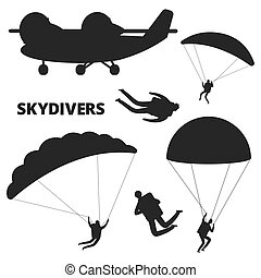 Airplane and skydivers vector silhouettes isolated on white background
