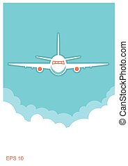 Airplane and sky.Vector blue poster background