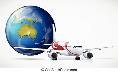 Airplane and the world on white background