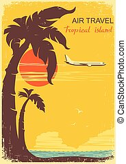 airplane and tropical paradise old retro poster bacckground