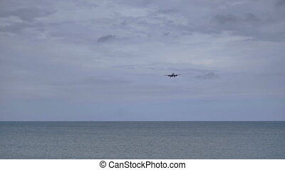 Airplane approaching at Phuket airport