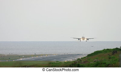 Airplane approaching before landing