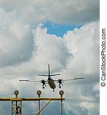 Airplane approaching runway
