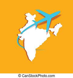 Airplane around Indian Map