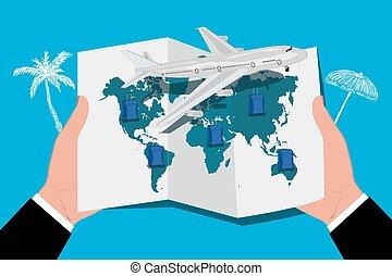 airplane around the world concept